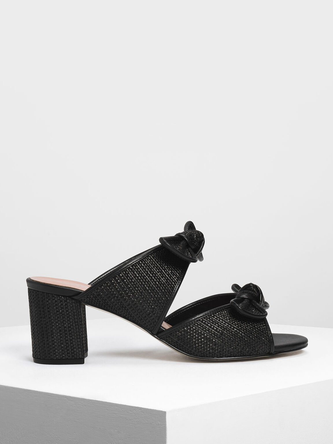 Double Bow Raffia Heeled Slide Sandals, Black, hi-res
