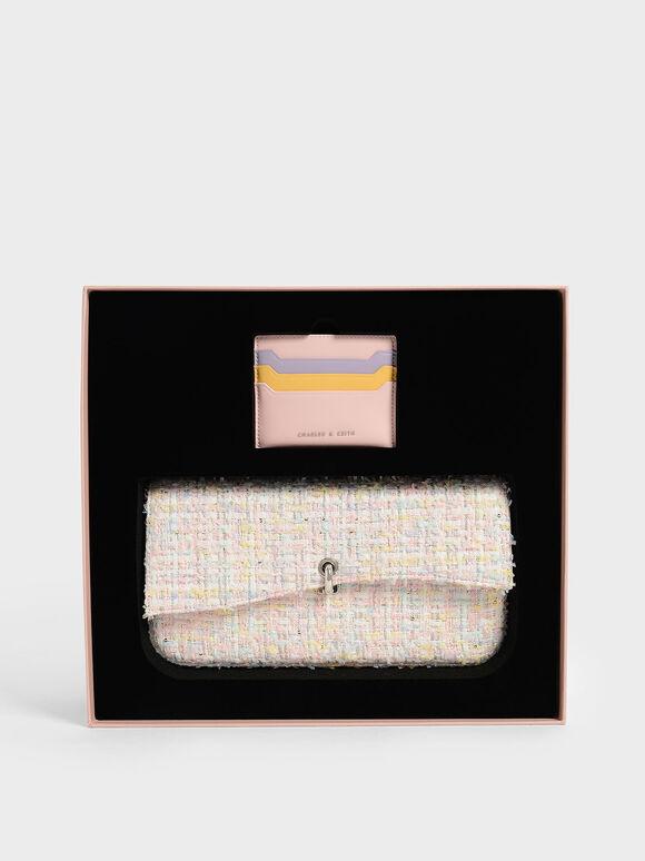 Gift Set: Tweed Shoulder Bag & Card Holder, Pink, hi-res