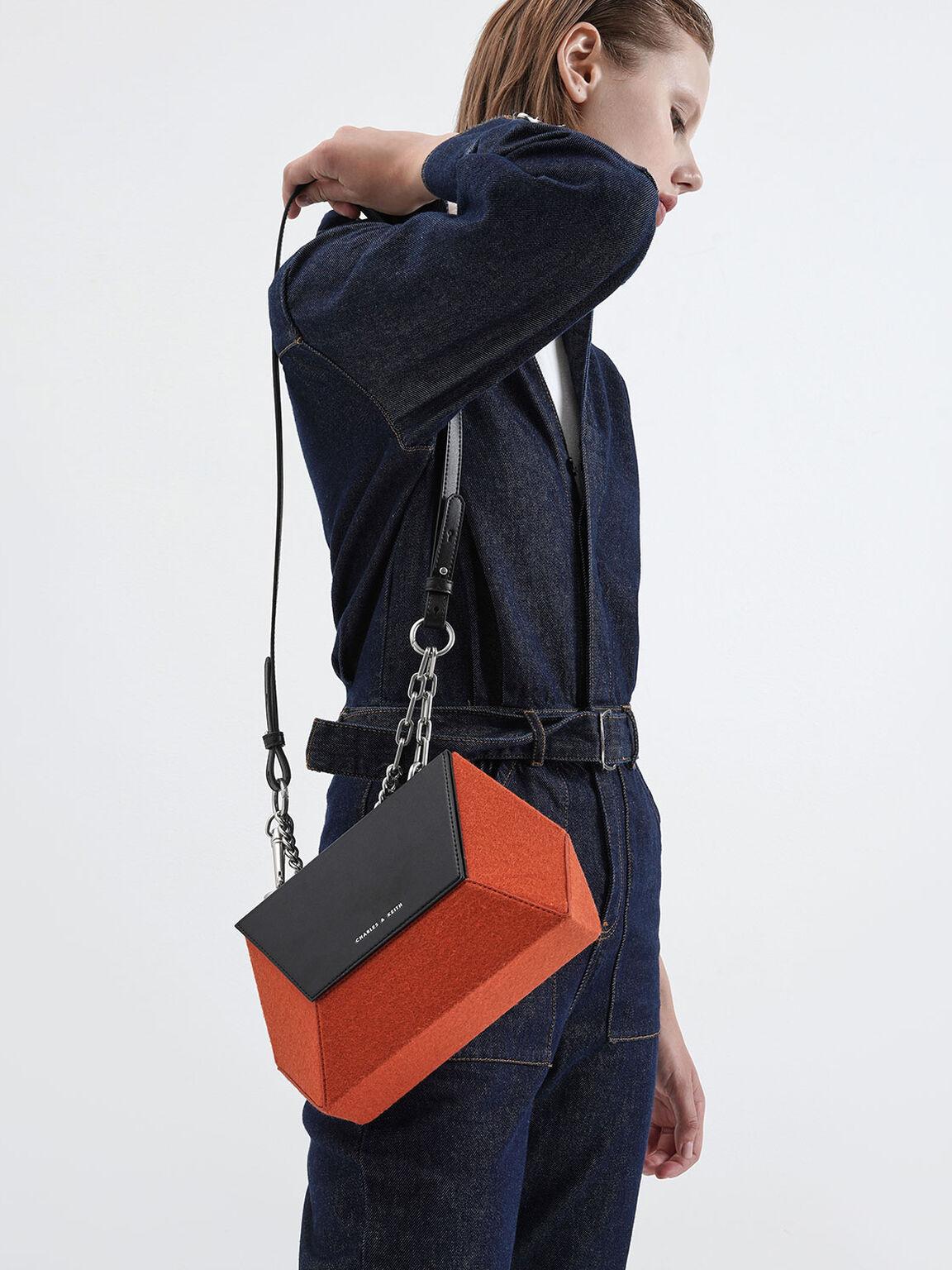 Two-Tone Thin Chain Handle Hexagon Crossbody Bag, Orange, hi-res