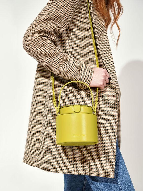 Cylindrical Bucket Bag, Green, hi-res