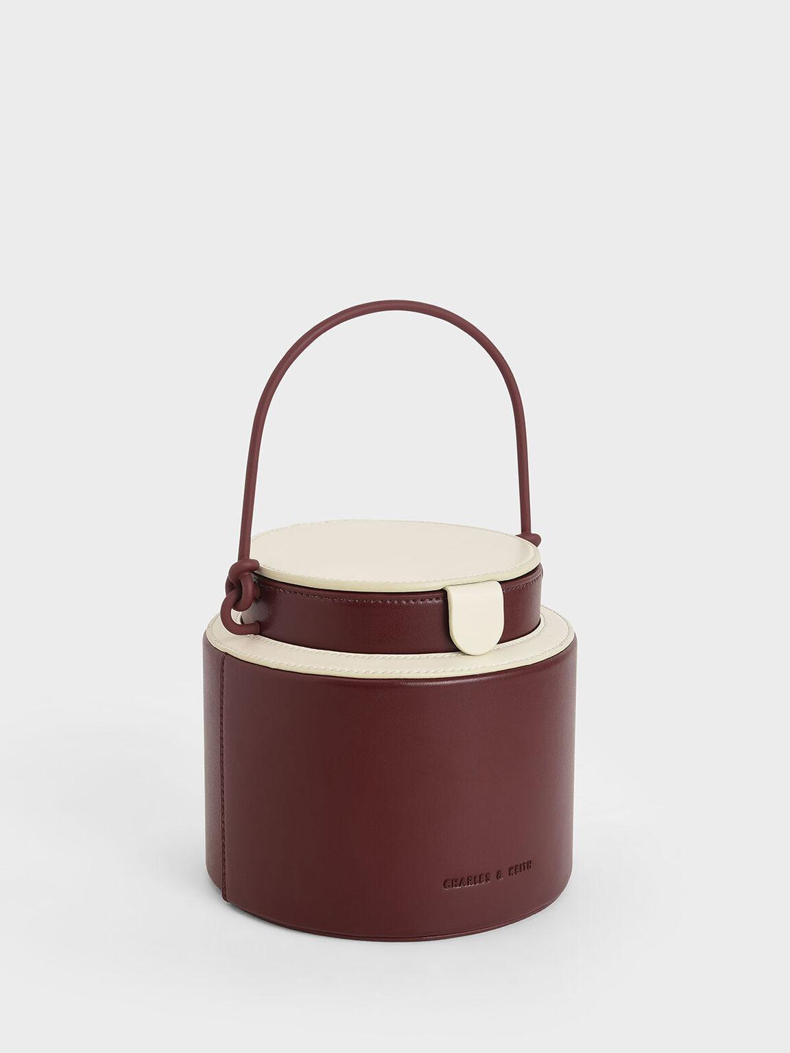 Cylindrical Bucket Bag, Maroon, hi-res