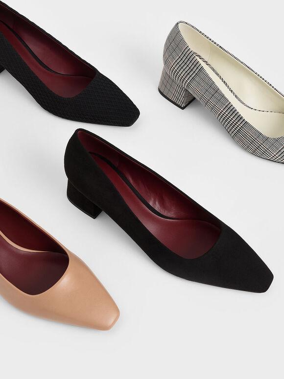 Textured Square Toe Block Heel Pumps, Black, hi-res