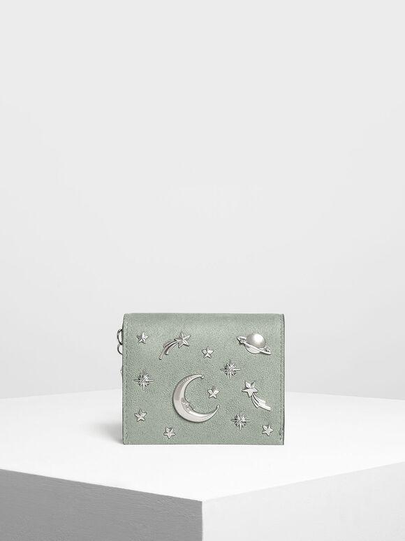 Snap Button Galaxy Embellished Velvet Card Holder, Sage Green, hi-res