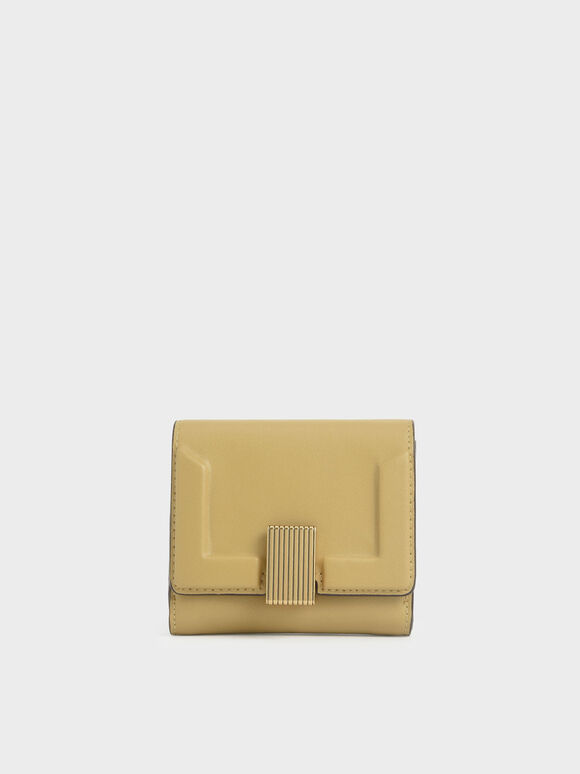 Metallic Turn-Lock Short Wallet, Sand, hi-res