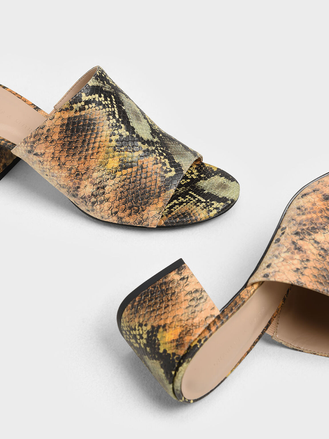 Snake Print Block Heel Slide Sandals, Multi, hi-res