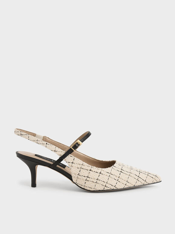 Tweed & Leather Slingback Pumps, Cream, hi-res