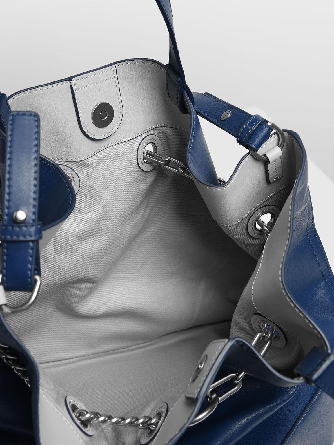 Padlock Tote Bag, Dark Blue, hi-res
