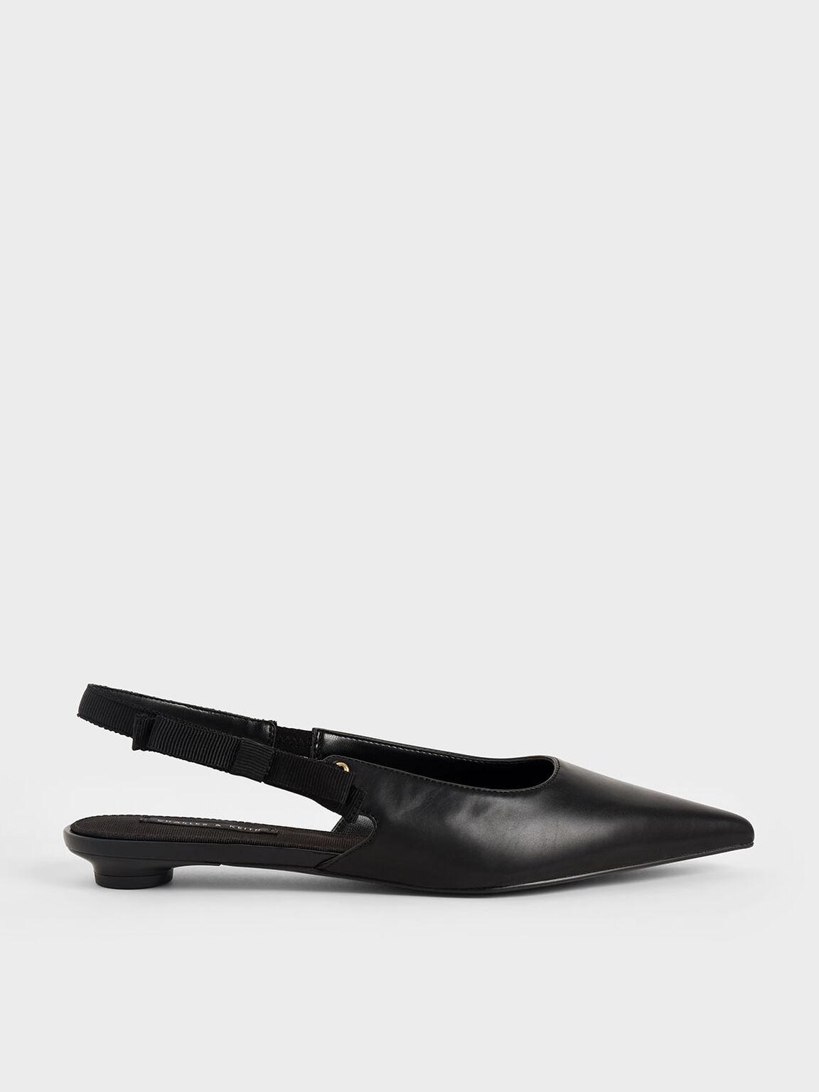 Ribbon Tie Slingback Flats, Black, hi-res