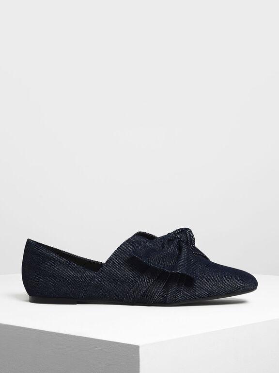 Knot Detail Flats, Blue, hi-res