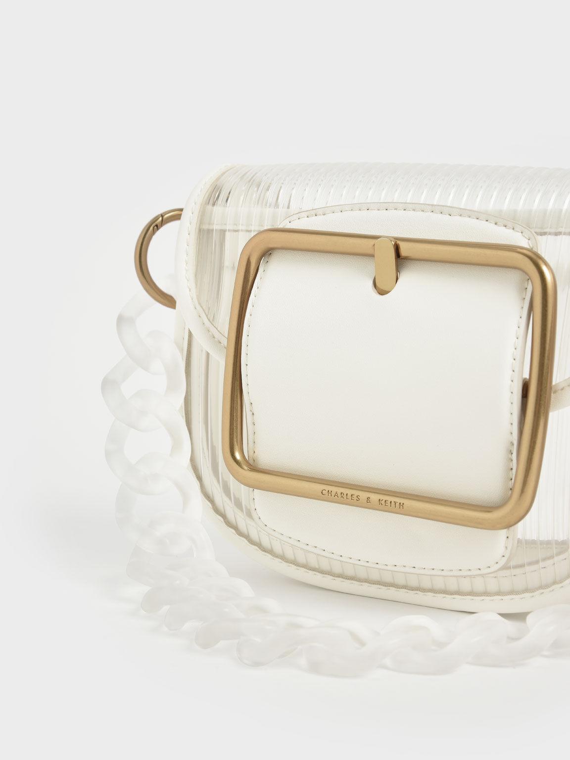 Acrylic Chain Handle Crossbody Bag, White, hi-res