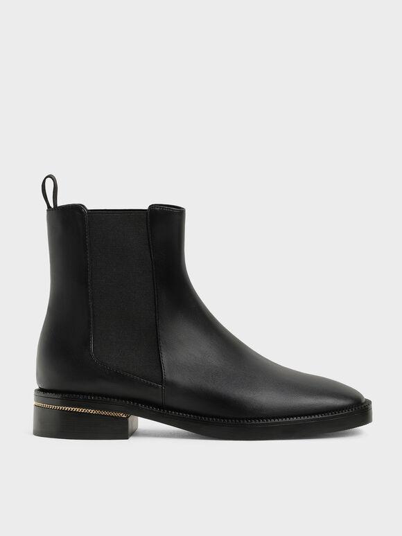 Chain-Trim Heel Chelsea Boots, Black, hi-res