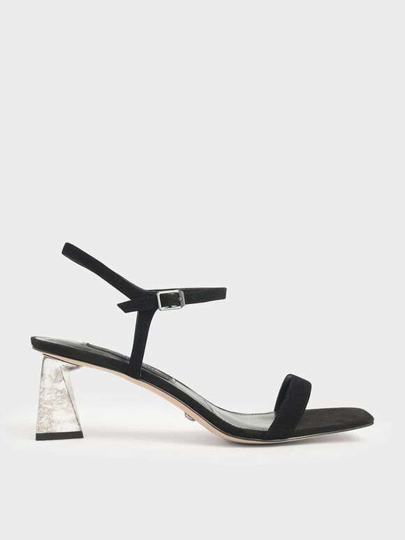 Chrome Heel Sandals (Kid Suede), Black, hi-res