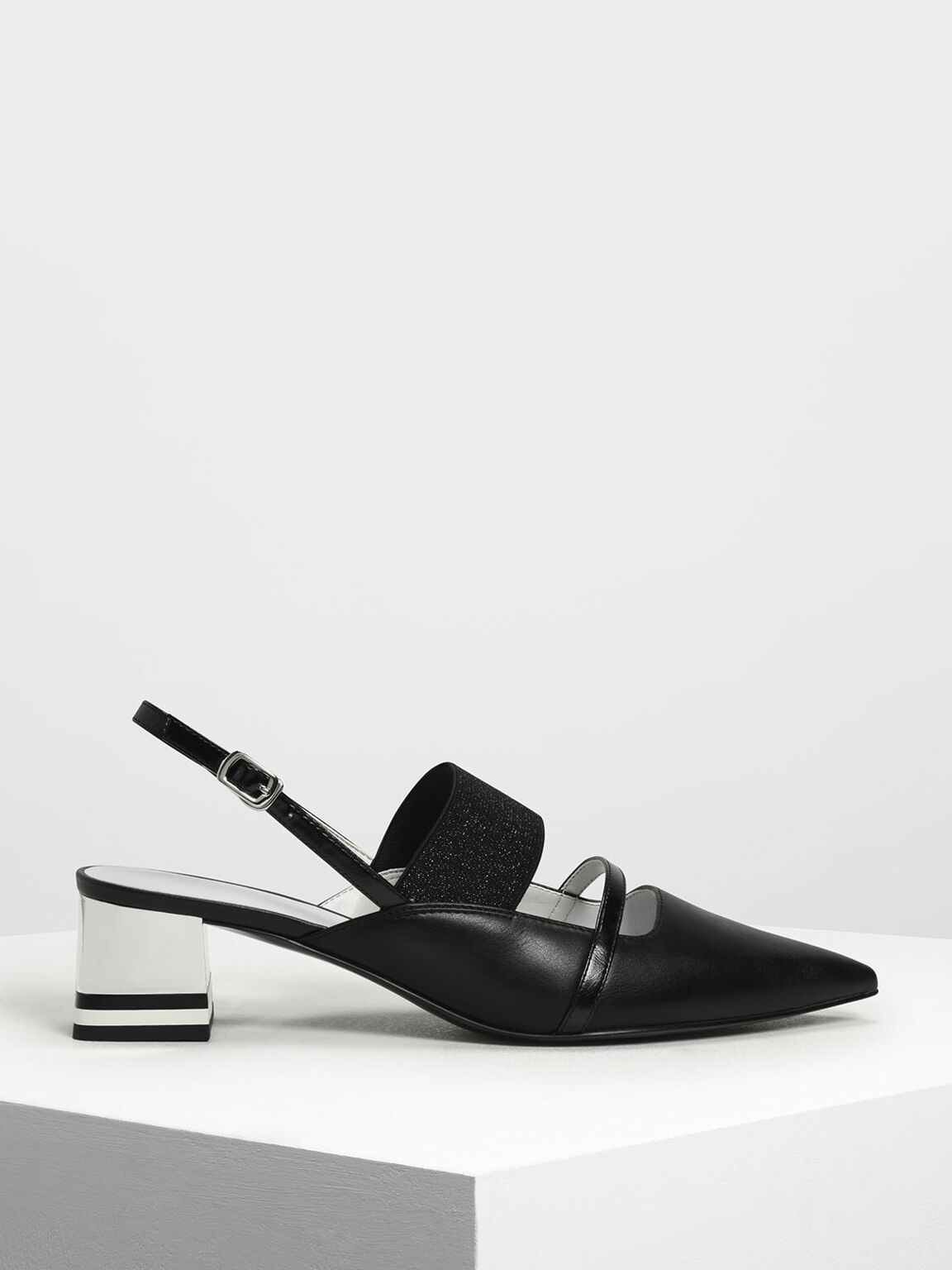 Pointed Toe Slingback Heels, Black, hi-res