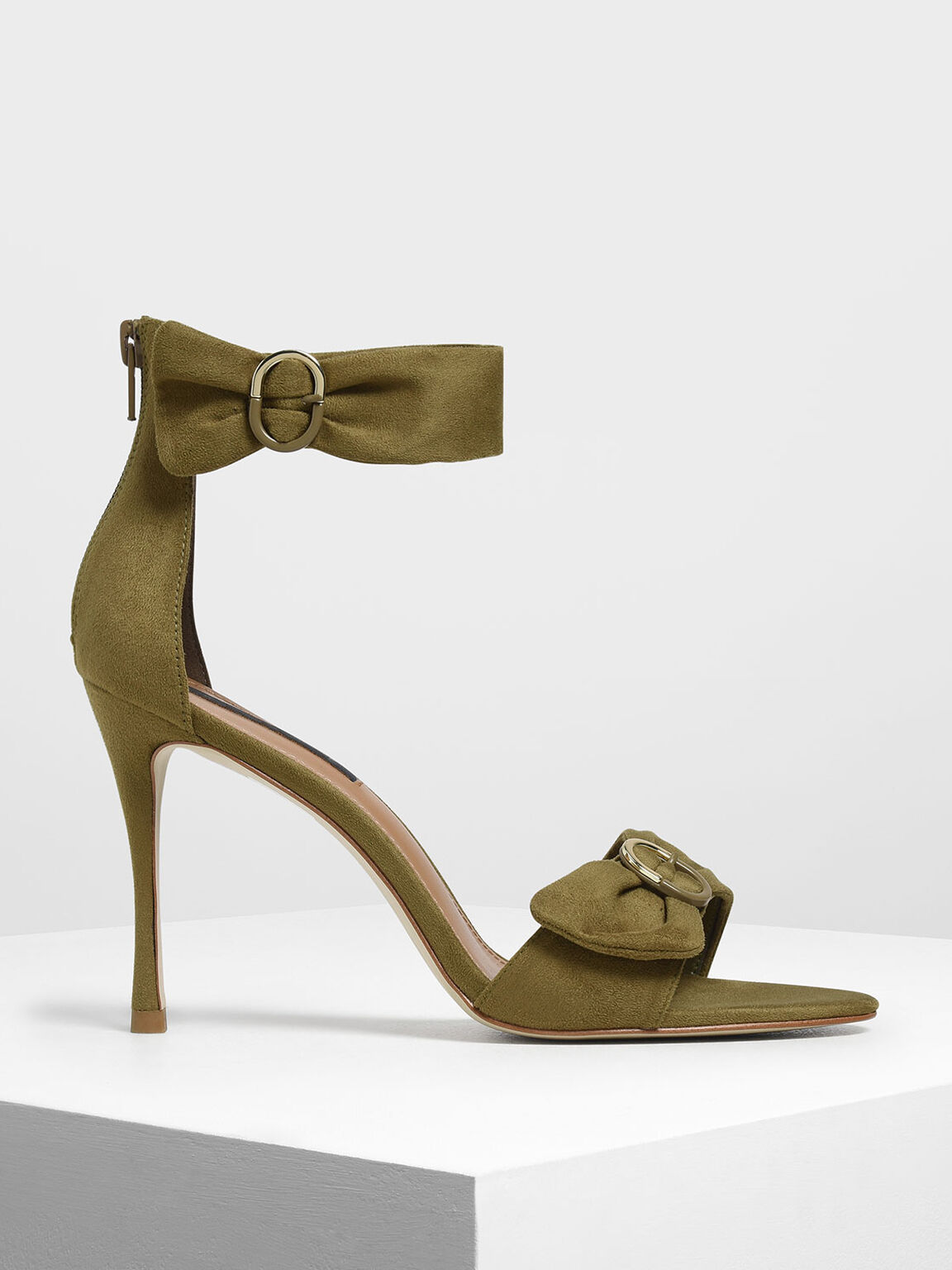 Ruched Two-Tone Buckle Stiletto Heels, Olive, hi-res