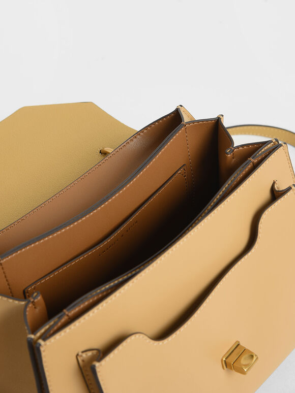 Stone-Embellished Geometric Bag, Yellow, hi-res