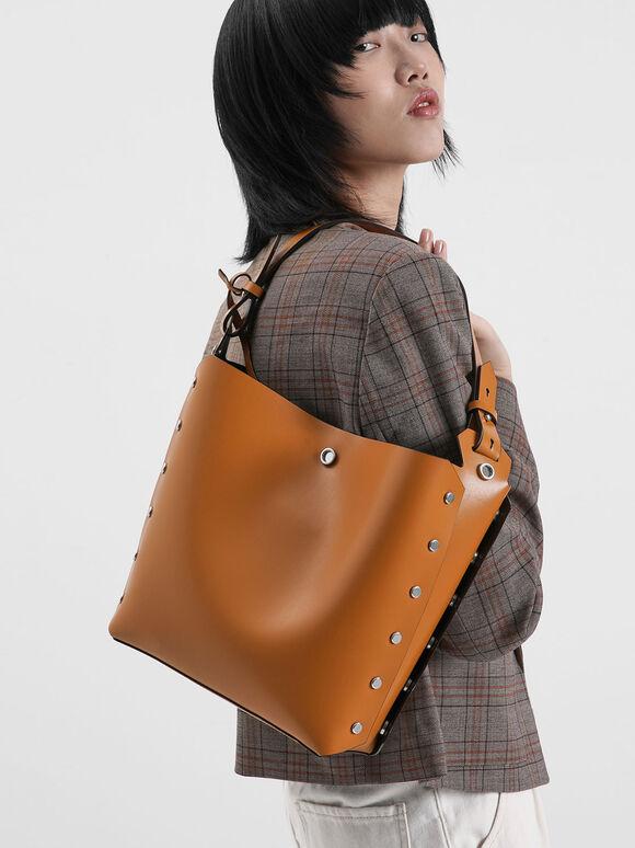 Reversible Studded Trapeze Shoulder Bag, Tan, hi-res