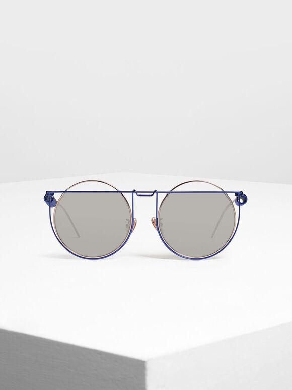 Geometric Round Frame Sunglasses, Blue, hi-res