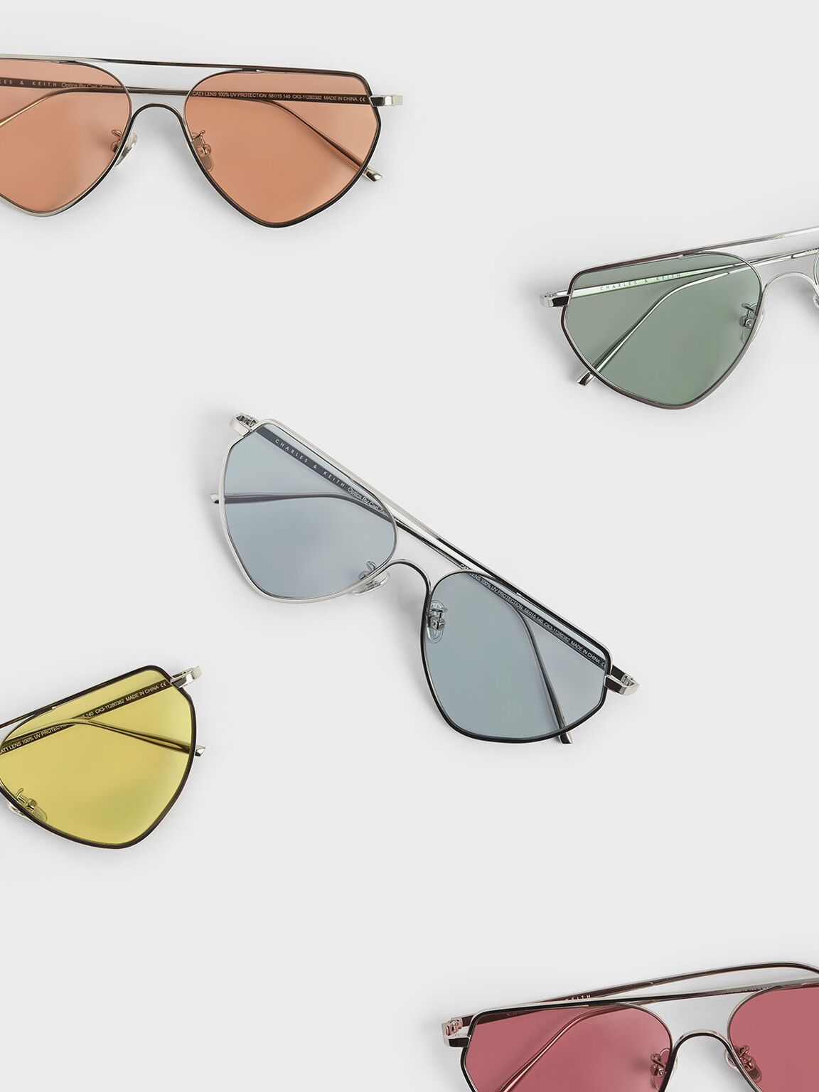 Thin Metal Frame Geometric Sunglasses, Blue, hi-res