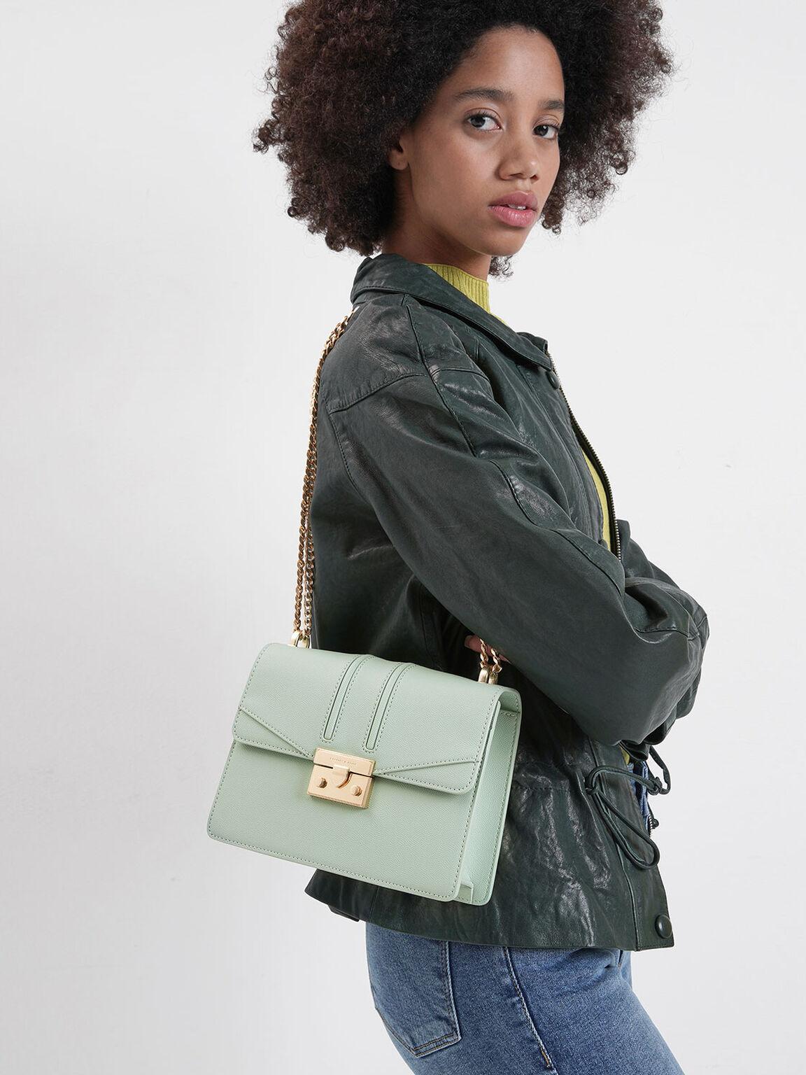 Chain Strap Shoulder Bag, Mint Green, hi-res