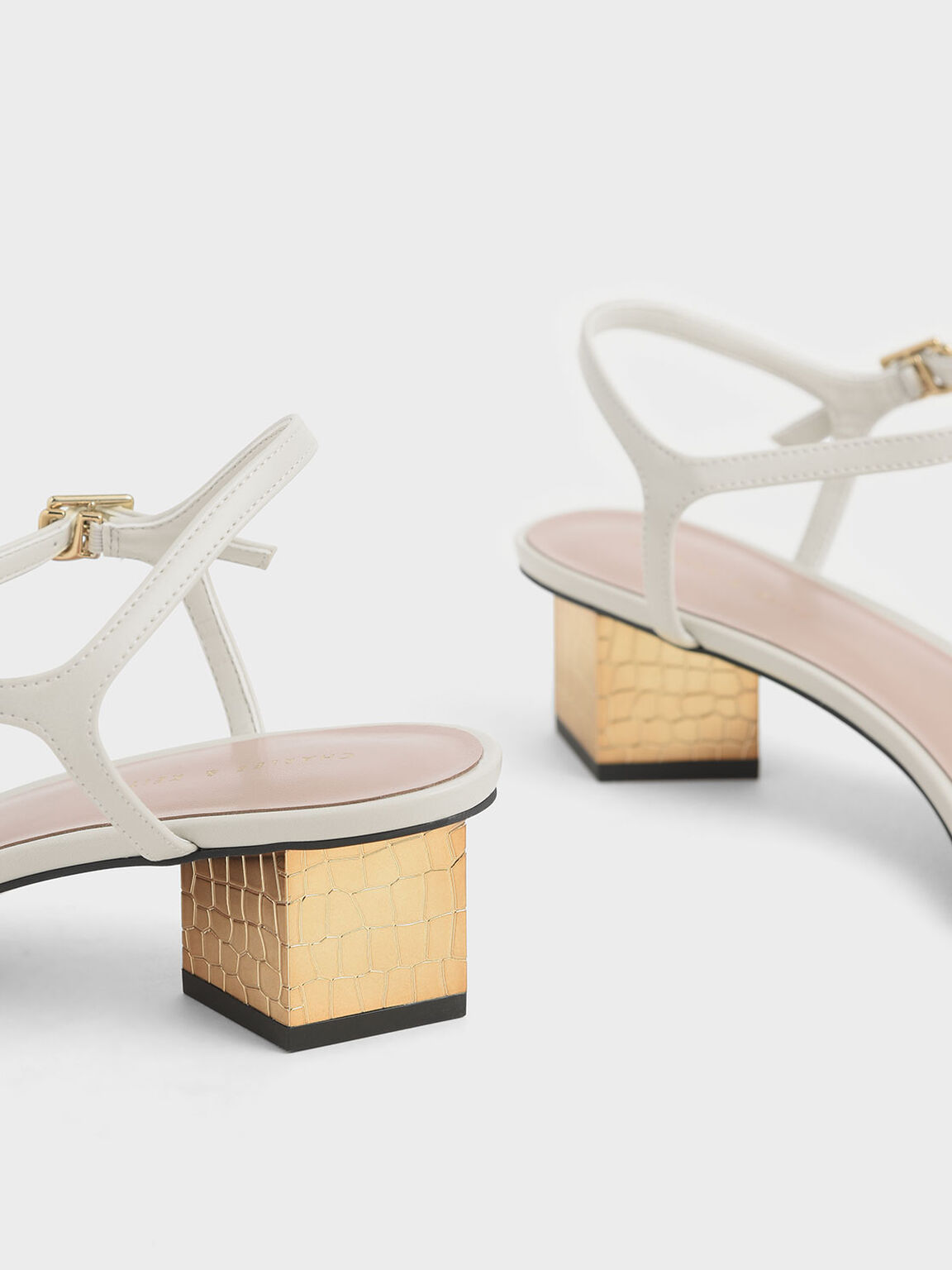 Sculptural Chrome Heel Sandals, Chalk, hi-res