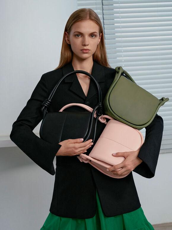 Luna Knotted Handle Shoulder Bag, Light Pink, hi-res
