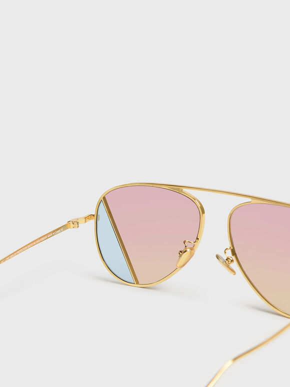 Two-Tone Aviator Sunglasses, Pink, hi-res