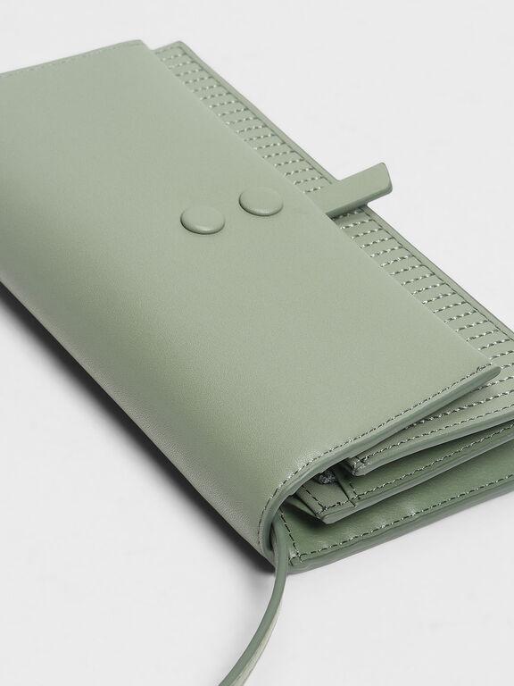Topstitch Detail Wallet, Sage Green, hi-res