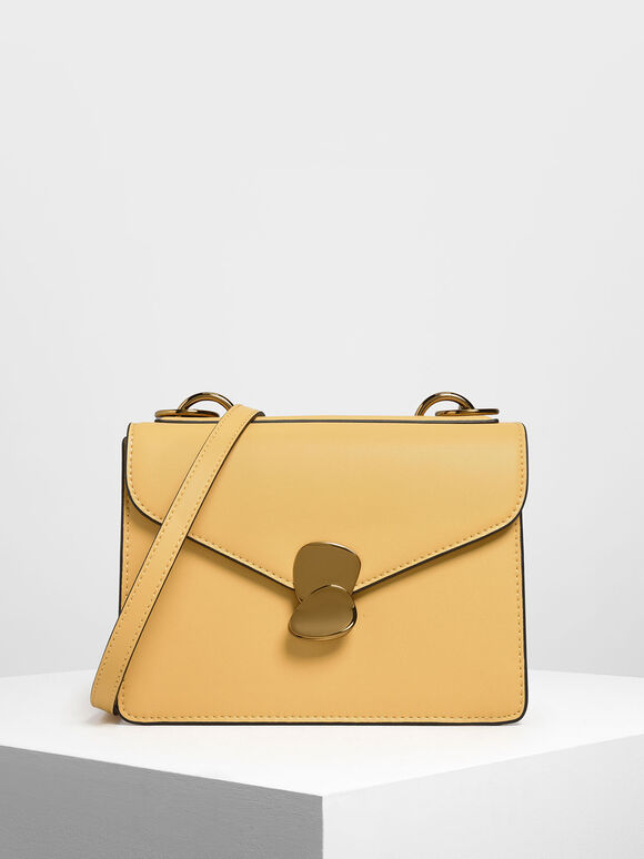 Metal Push Lock Front Flap Bag, Yellow, hi-res