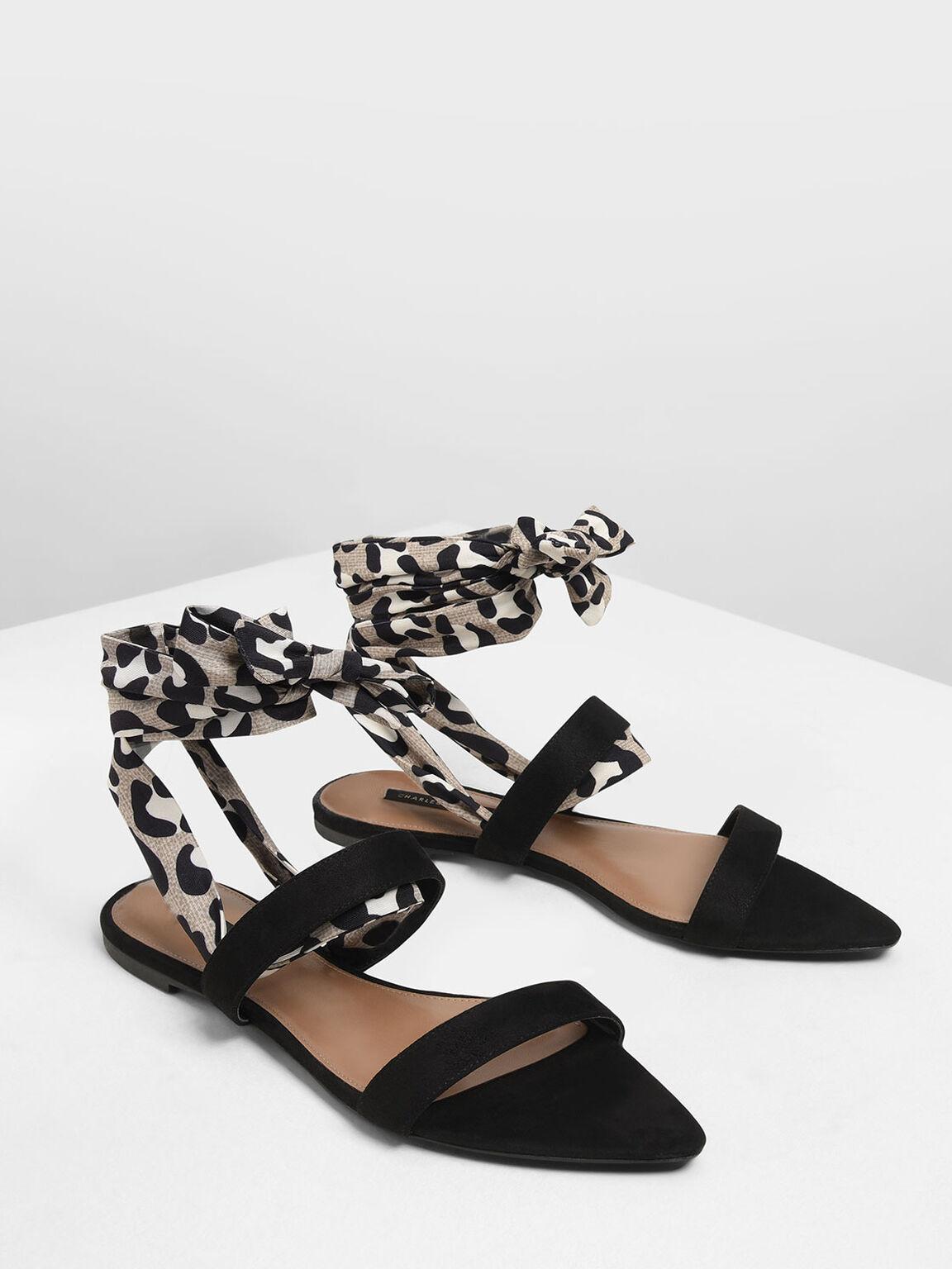 Leopard Print Ankle Wrap Sandals, Black, hi-res