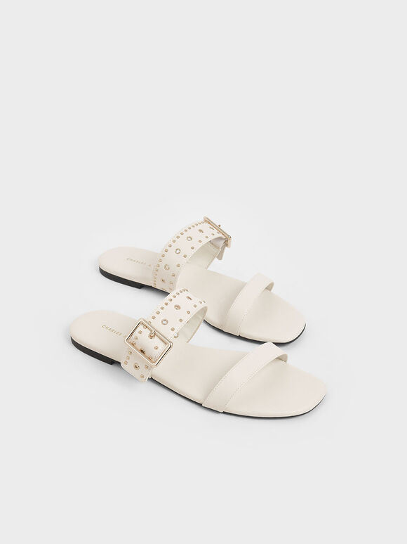 Studded Slide Sandals, Chalk, hi-res