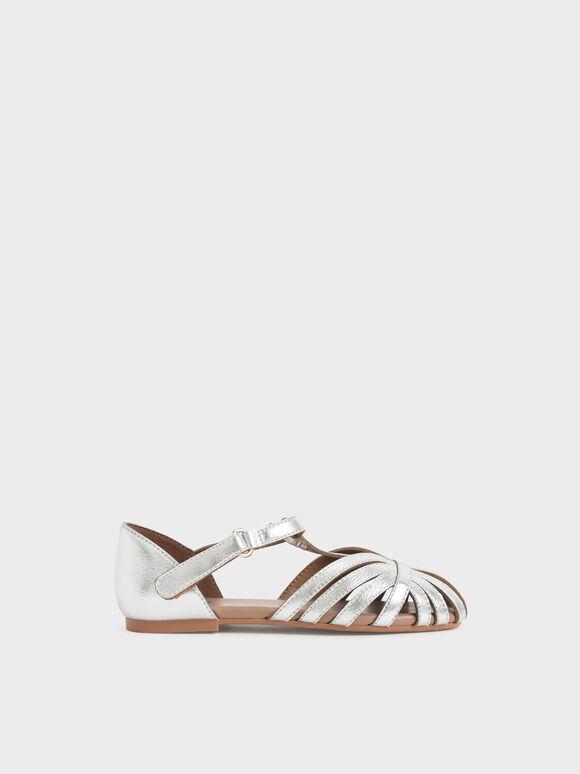 兒童幾何帶涼鞋, 銀色, hi-res