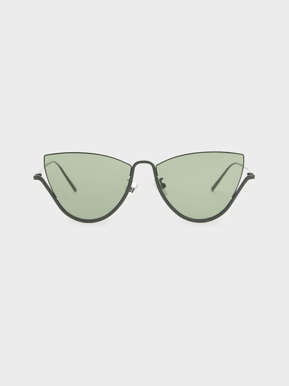 Half Frame Cat-Eye Sunglasses, Green, hi-res