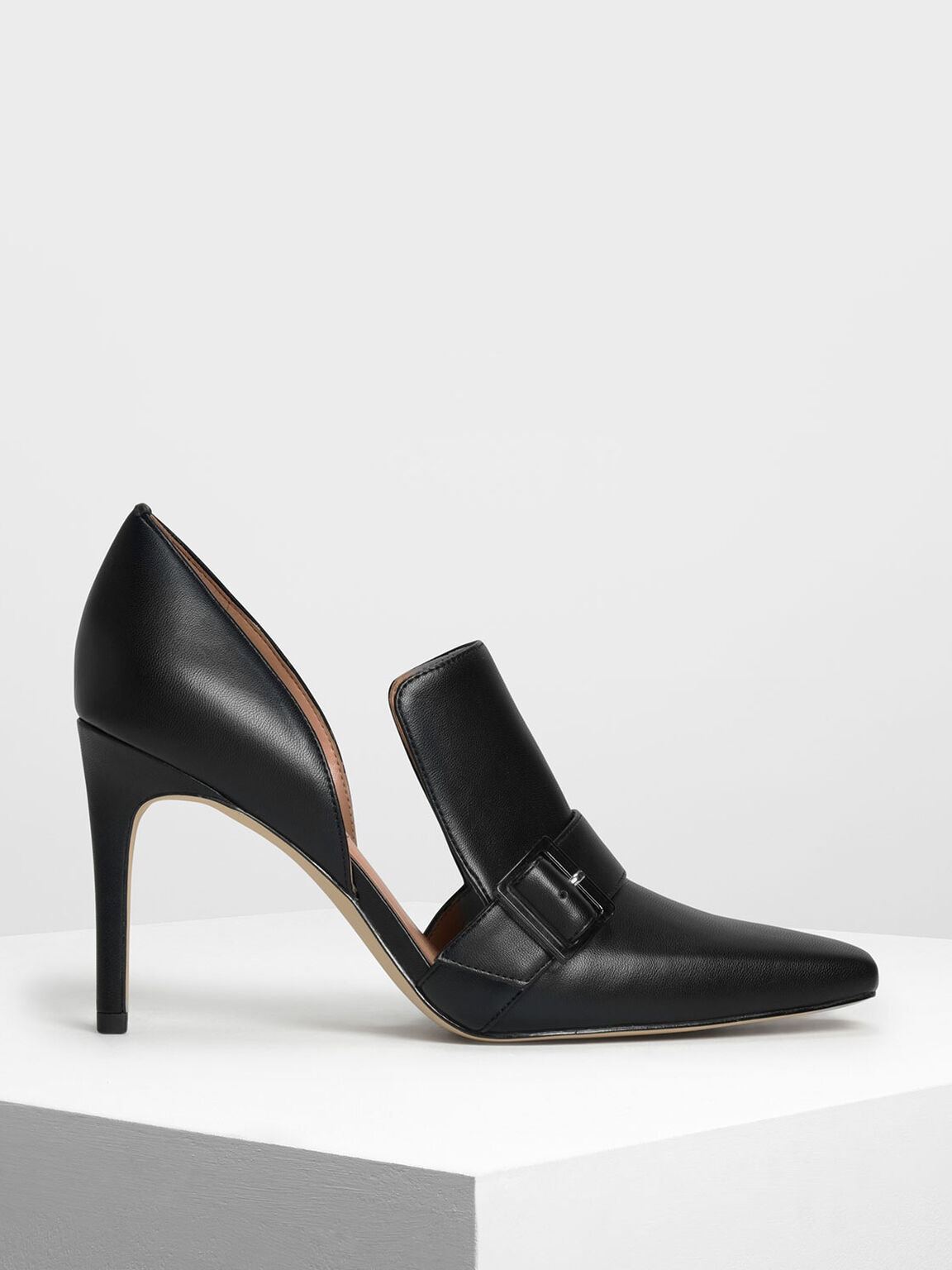 Extended Topline D'Orsay Heels, Black, hi-res