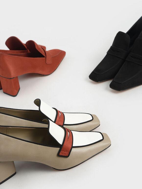 方頭三角跟樂福鞋, 黑色, hi-res