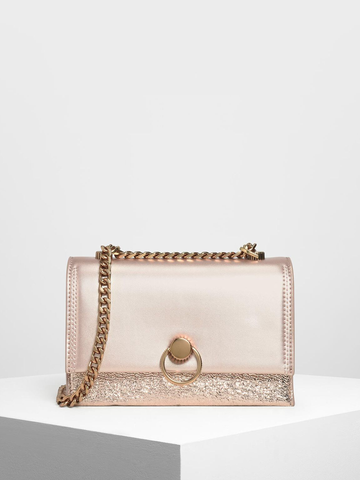 Metallic Ring Push Lock Bag, Rose Gold, hi-res