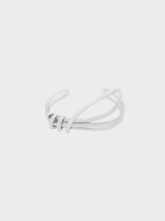 Knotted Design Cuff Bangle, Silver, hi-res
