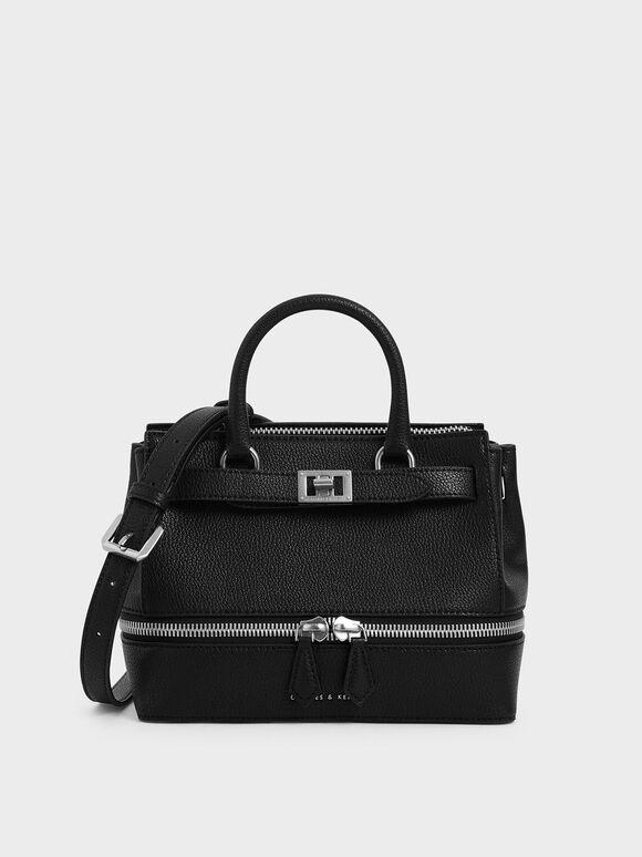 Two-Way Zip Structured Bag, Black, hi-res
