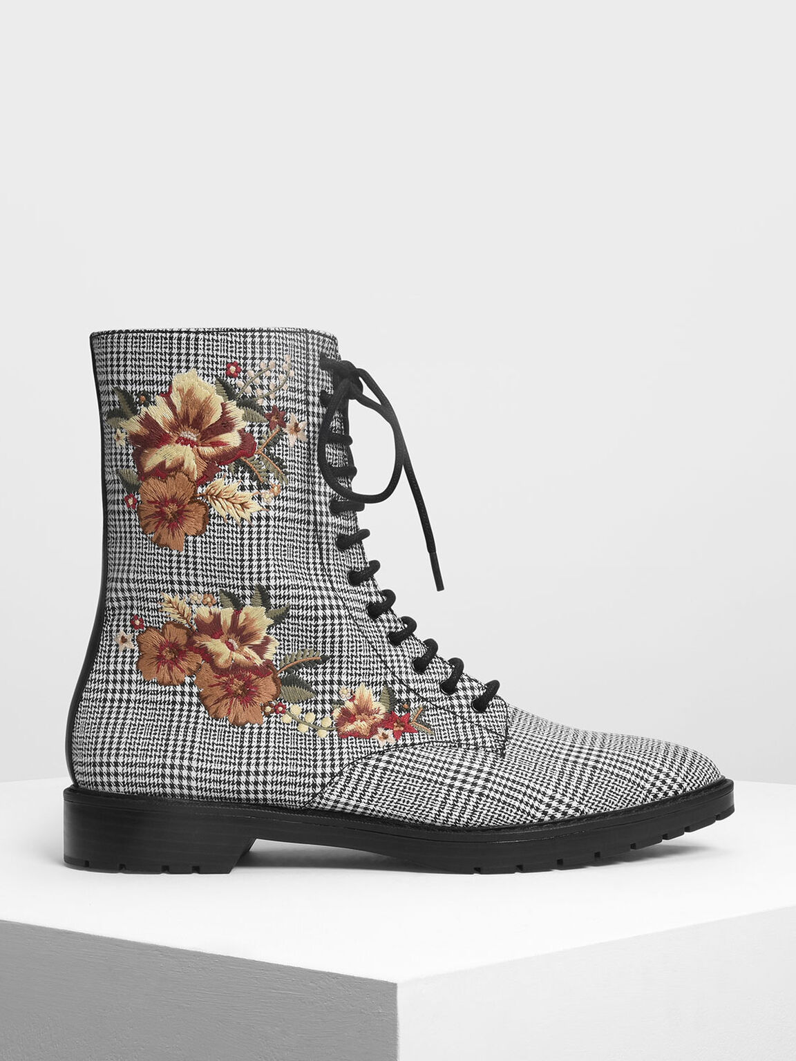 Floral Embroidery Pointed Toe Calf Boots, Multi, hi-res