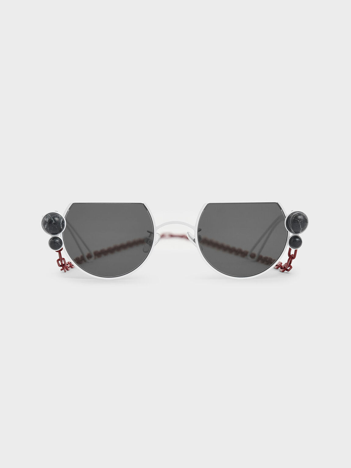 Onyx Stone Chain Link Round Cut-Off Sunglasses, White, hi-res