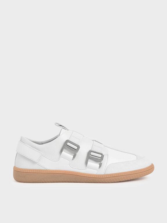 Buckle Slip-On Sneakers, White, hi-res