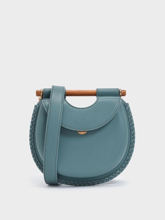 Wood-Effect Handle Whipstitch Trim Bag, Teal, hi-res