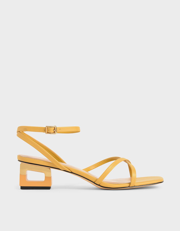 Yellow Sculptural Chrome Heel Sandals