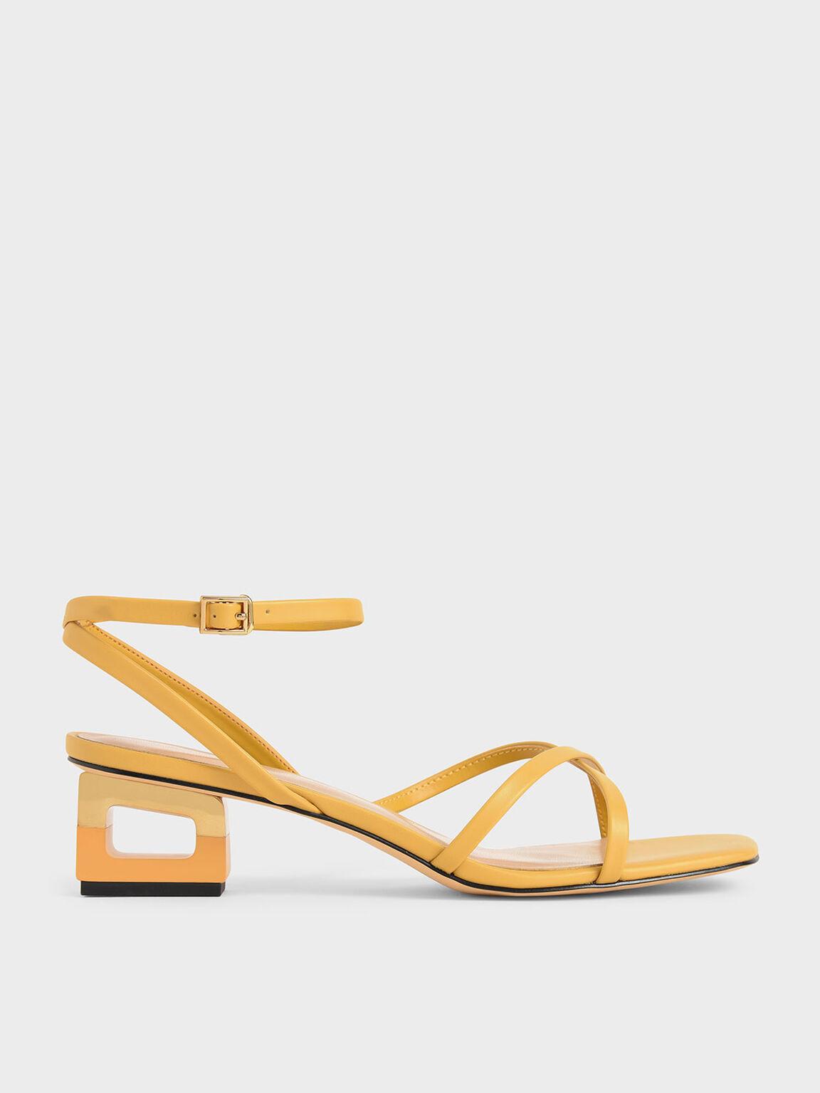 交叉帶方頭涼鞋, 黃色, hi-res