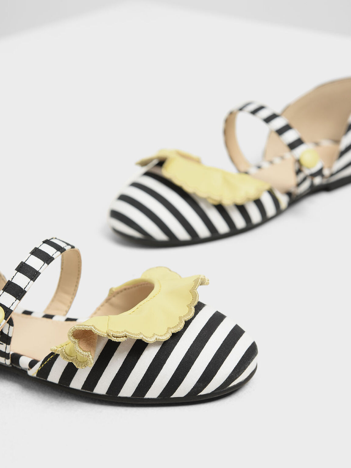 Girls' Black And White Stripe Mary Janes, Black, hi-res