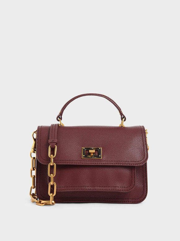 Resin-Effect Buckle Handbag, Burgundy, hi-res