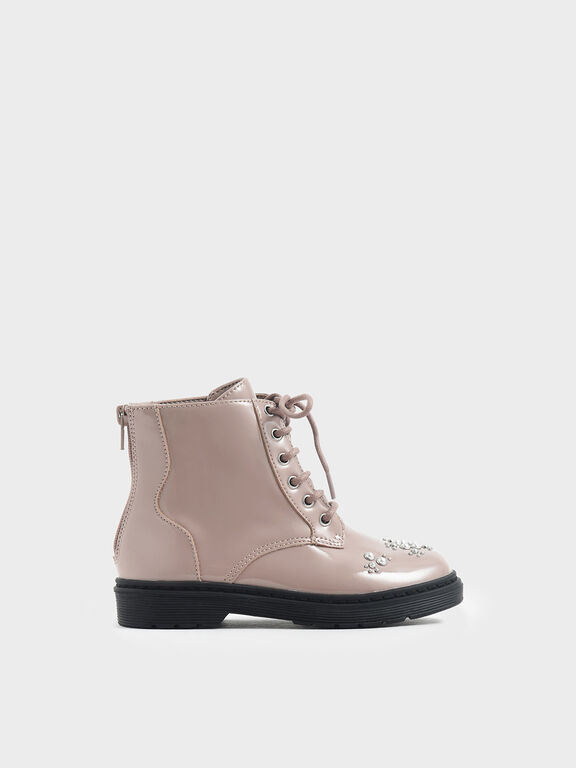 Girls' Embellished Patent Lace-up Boots, Nude
