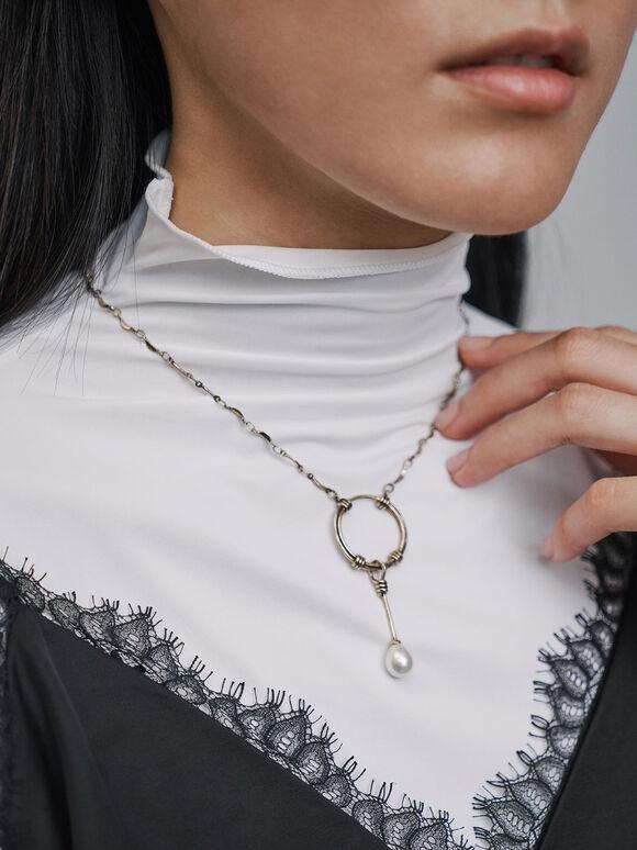 Pearl Drop Necklace, Gold, hi-res