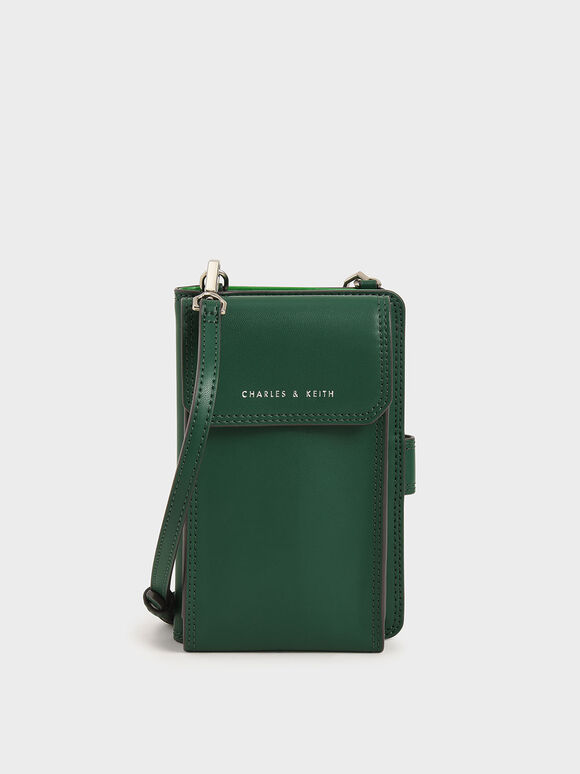 Elongated Pouch Wallet, Green, hi-res