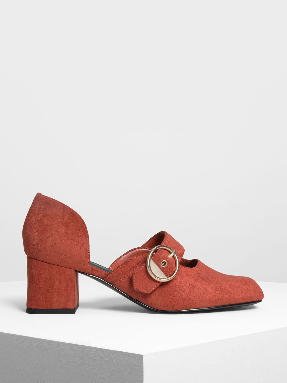 Oversized Gold Buckle Mary Janes, Orange, hi-res