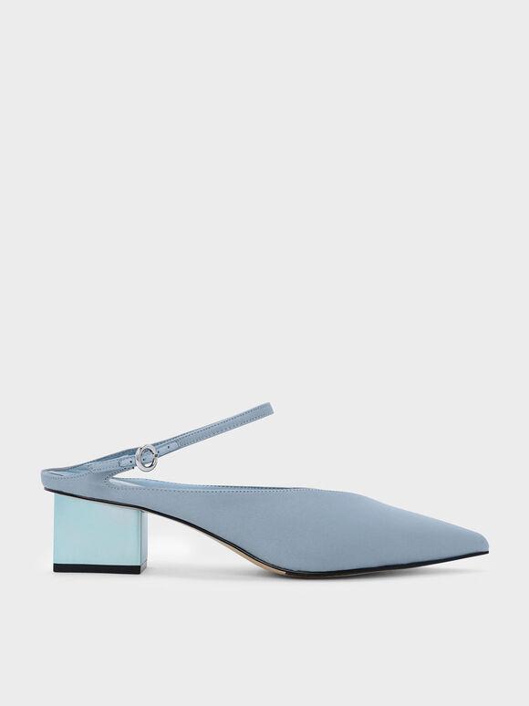 Metallic Heel Mules, Blue, hi-res